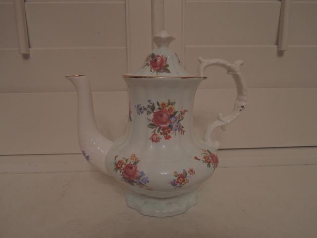 Hammersley Large Coffee Pot Teapot Pink Roses Great Condition