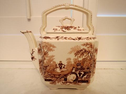 Vintage Masons Watteau Brown Transferware Ironstone Teapot Gorgeous!
