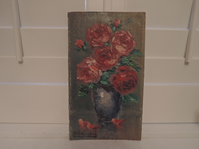 Italo Giordani Painting Oil on Board Italian Still Life Roses in Vase Signed Printemps