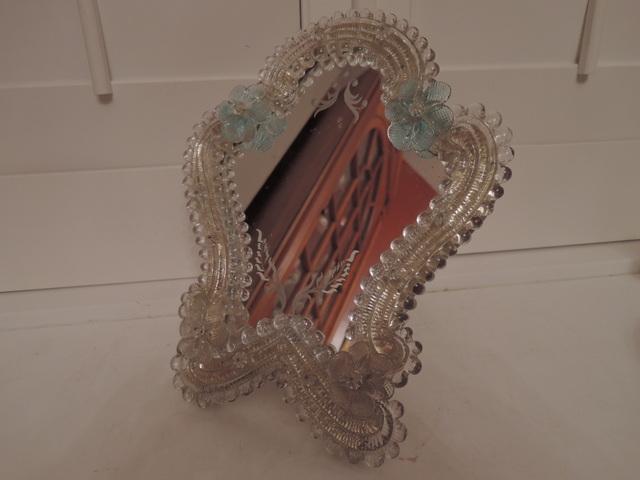 Vintage Venetian Murano Etched Glass Ladies Dresser Mirror Blue Flowers