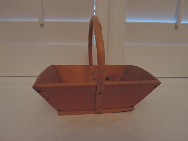 Vintage French Wooden Gathering Garden Trug Basket Wood