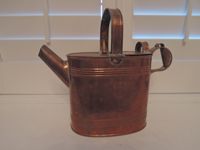 Antique English Copper Watering Can Emley & Sons 1890-1920 Garden