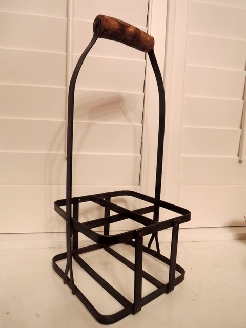 Vintage French Metal Wine Bottle Carrier Rack Basket Unusual c. 1930