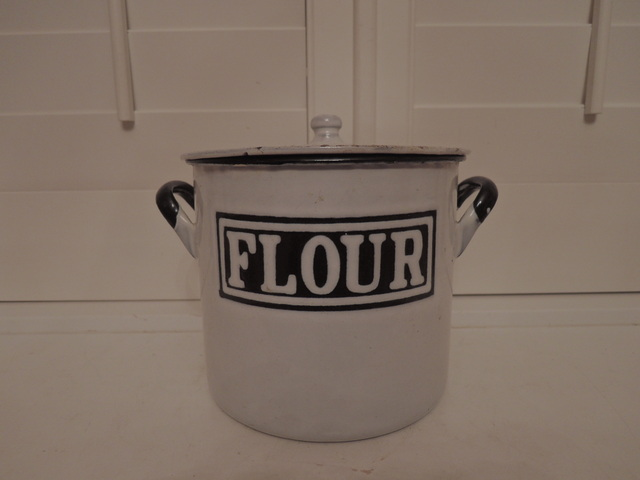 Vintage English Classic Enamel White & Black Flour Bin Box 1920's Enamelware