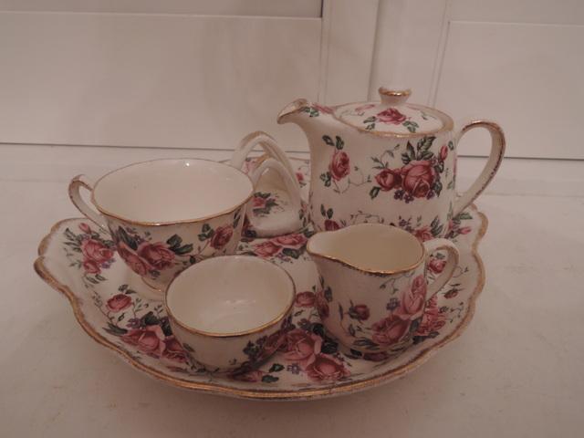 Vintage James Kent Breakfast Set Tea for One Teapot Pink Roses