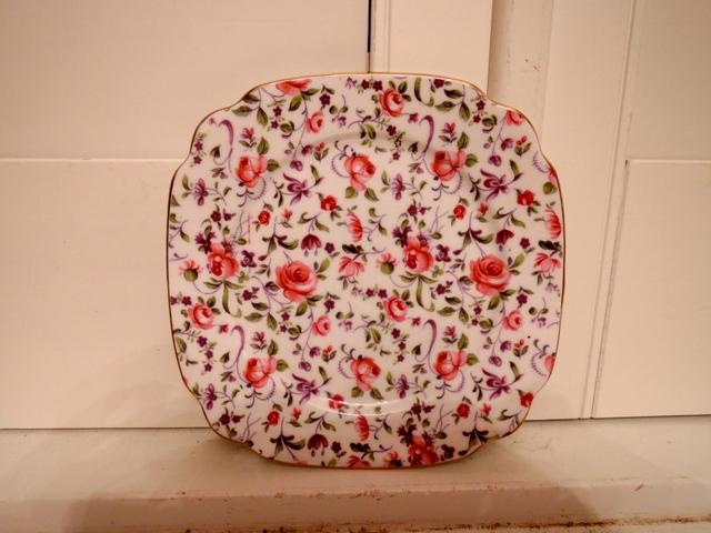 "Vintage Windsor Chintz Rose Dubarry Briar Confetti 6"" Square Plate Bone China"