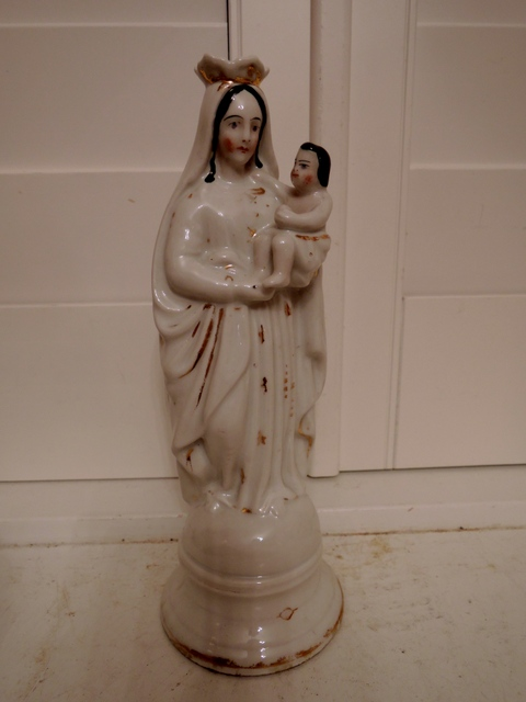 Antique 19th C. French Porcelain Madonna & Child Jesus Statue Figurine