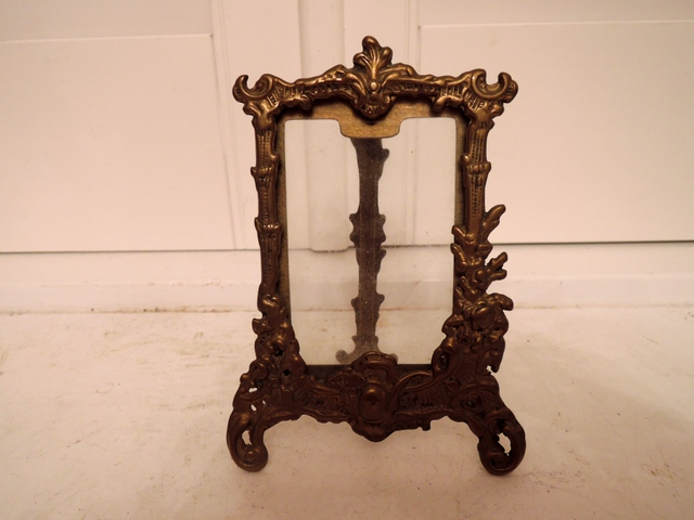 "Vintage French Brass Photo Picture Frame 3.5"" x 2.5"" w/Glass"