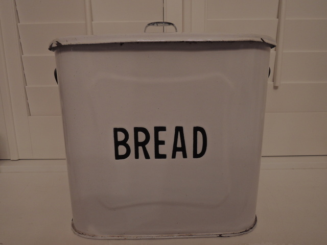 Vintage English Classic Enamel White & Black Bread Bin Box 1920's Enamelware