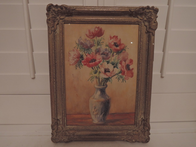 Framed Still Life Watercolor Painting Poppies Signed H. L. Brewer English