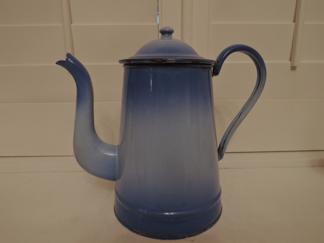 Beautiful French Enamel Two Tone Blue Coffee Pot Enamelware 1930's