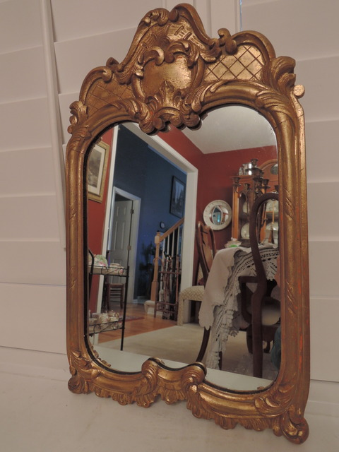 Fabulous Vintage French/Belgium Gilt Wood Wooden Frame Wall Mirror