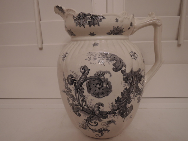 Gorgeous Antique Black Transferware Ironstone Melrose G. Bros. Pitcher Jug
