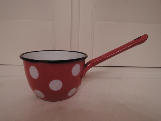 Vintage French Red & White Polka Dot Enamelware Enamel Cup