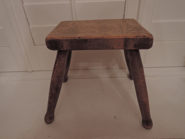 Sycamore and Ash Wood Pokerwork Child's Milking Stool C 1900 Primitive Wooden