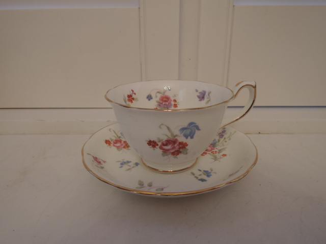 Vintage Hammersley Minuet Blue Florals & Pink Roses Bone China Cup & Saucer Teacup