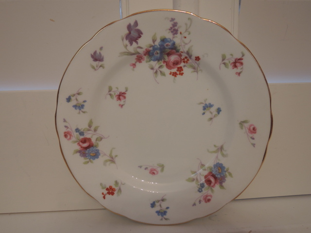 "Vintage Hammersley Blue Florals & Pink Roses Bone China 7"" Plate"