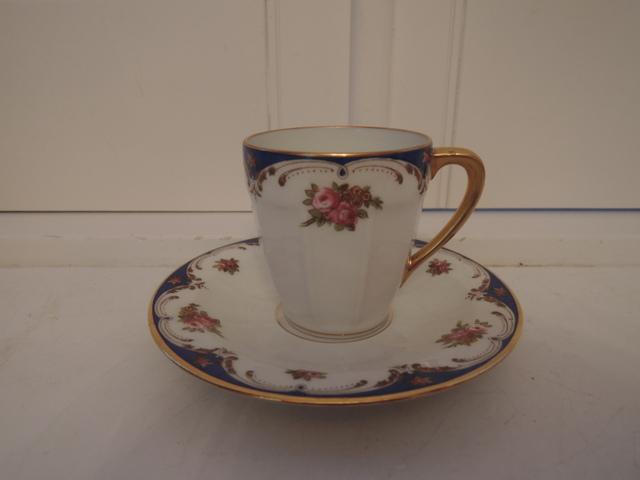 Vintage French Limoges Blue & Pink Rose Cup & Saucer Teacup