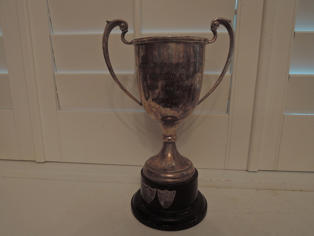 Huge Silverplate EPNS Silver Plate Handled Boxing Trophy on Bakelite Stand