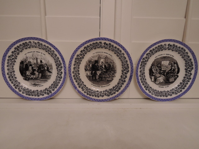 Antique Set of 3 French Bicolor Transferware Plates 1880's Assiettes Parlantes