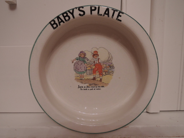 Vintage English Jack & Jill Baby's Childs Plate Bowl Nursery Rhyme 1940's