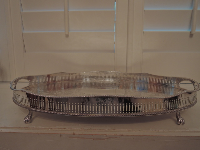 Huge Sheffield Silverplate Handled Butlers Tray Claw Feet Gallery Server