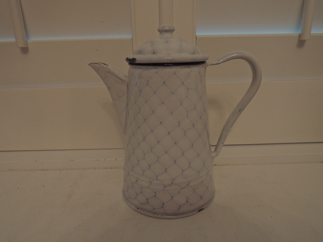 Antique German Enamel White Chicken Wire Medium Coffee Pot Enamelware 1930's
