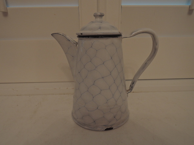 Antique German Enamel White Chicken Wire Small Coffee Pot Enamelware 1930's