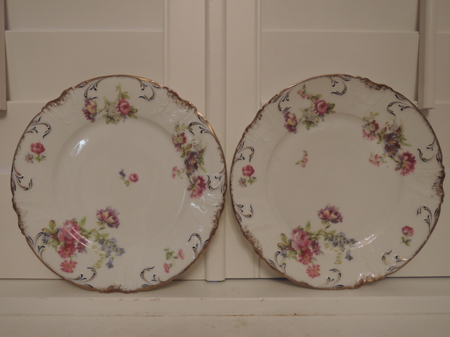 """Vintage French Limoges Pink Roses Gold & Navy Pair of 8.5"""" Plates"""