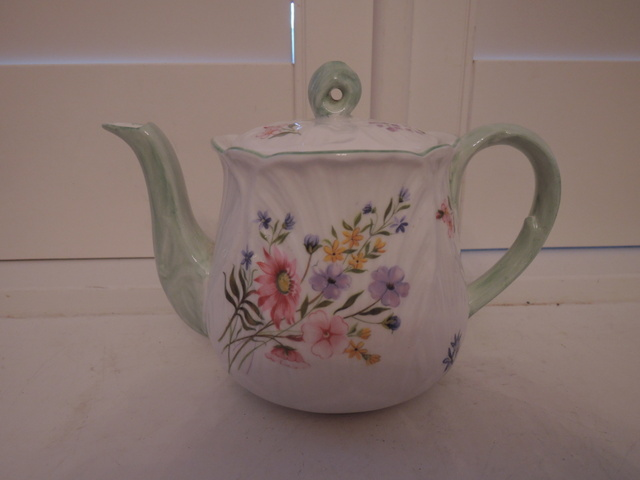 Rare! Vintage Shelley Wild Flowers Oleander Bone China Teapot Green Accents