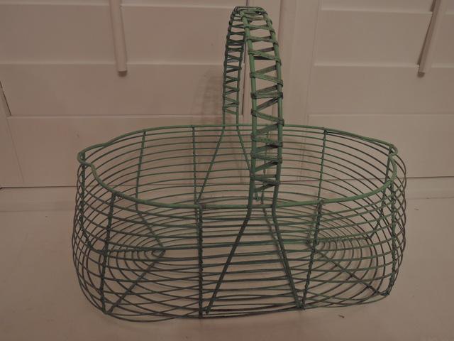 Vintage French Kitchen Garden Green Handled Wire Basket Gathering