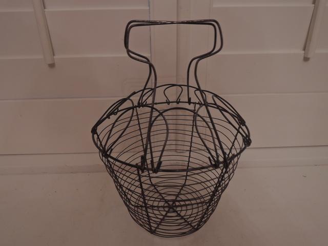 Vintage French Kitchen Wire Egg Basket Gathering