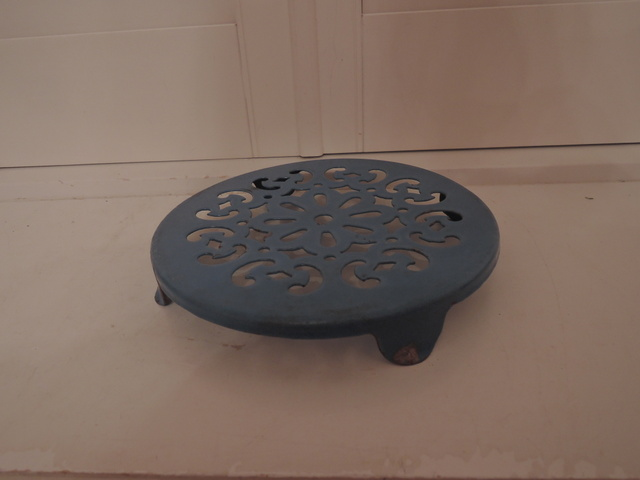 Vintage French Blue Enamel Cast Iron Trivet Stand Pot Holder Kitchen