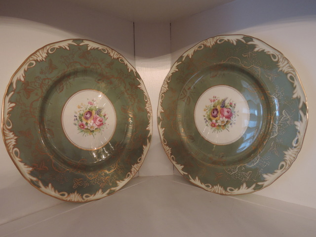 Vintage Pair of Royal Worcester Elegant Green & Gold Dinner Plates Hand Painted