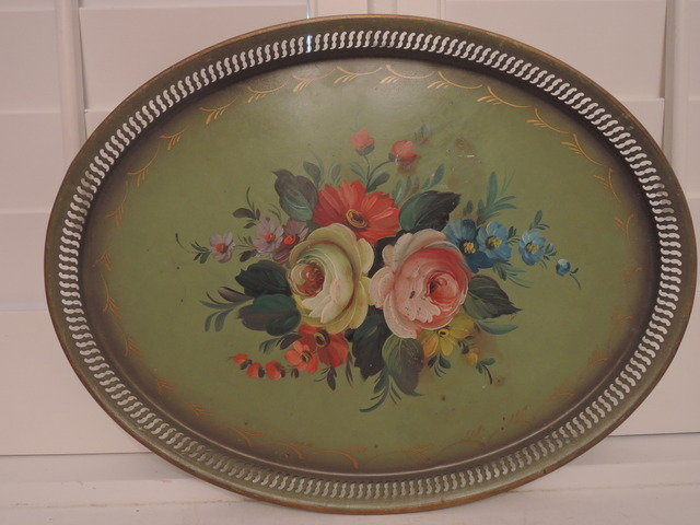 "Antique French Hand Painted Green Tole Tray Roses 17.5"" Long"