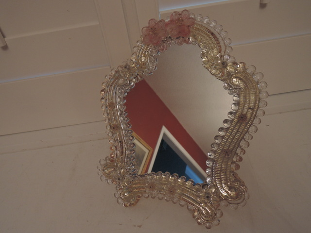 Vintage Italian Murano Glass Venetian Ladies Dresser/Wall Mirror Pink Flowers