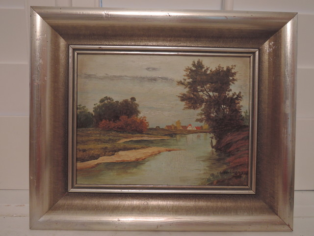 Oil on Board German L. Herrmann Landscape Painting Framed Signed