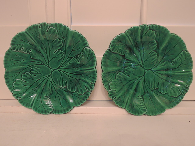 Vintage Pair of R & S Green Leaf Majolica Plates Dishes 1880's