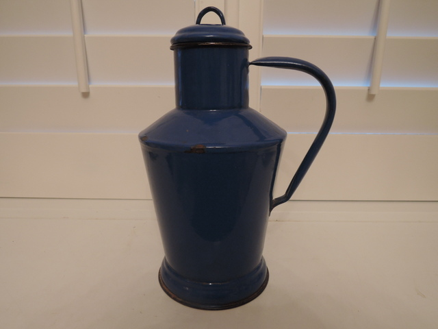 Antique French Enamelware Cobalt Blue Water Carrier Pitcher/Jug w/Lid Enamel 1920's