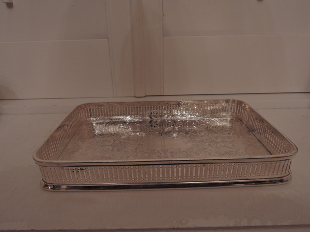 Vintage Arthur Price Silverplate Gallery Tray For Boudoir Vanity Rare Size