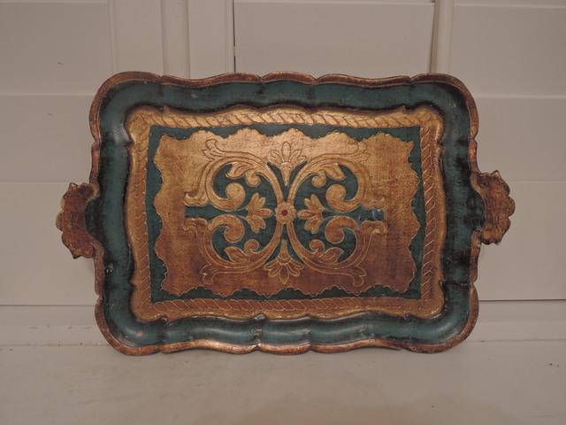 Vintage Italian Florentine Teal & Gold Handled Tray Wood Toleware