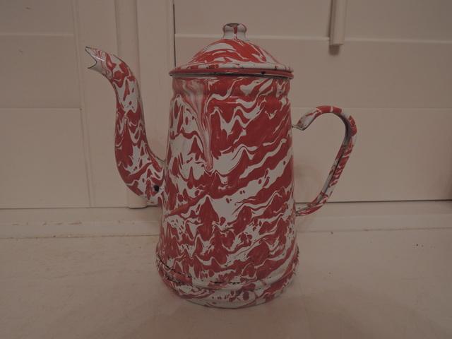 Vintage French Red & White Swirl Enamel Coffee Pot Enamelware