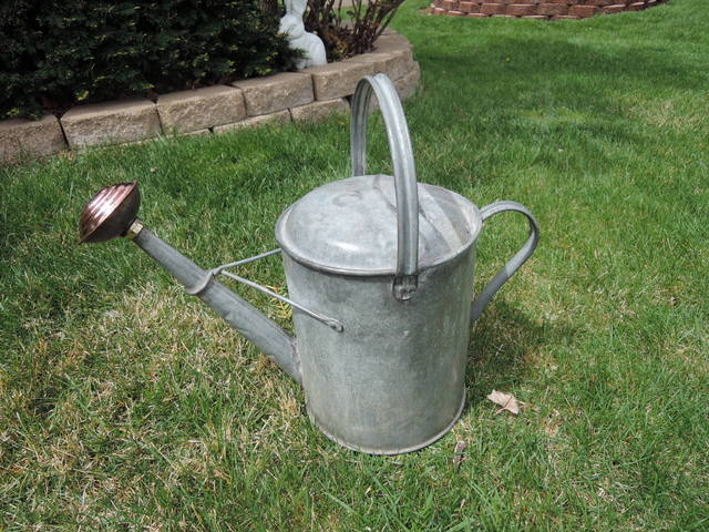 Vintage English 2 Gallon Galvanized Watering Can w/Copper Rose