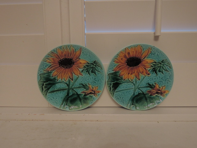 Antique French Pair of Majolica Sunflowers Plates Beautiful