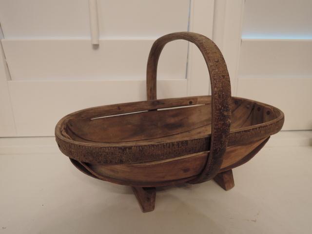 Vintage English Wooden Garden Trug Basket Sussex