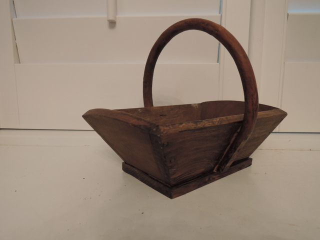 Small Vintage French Wooden Garden Trug Basket