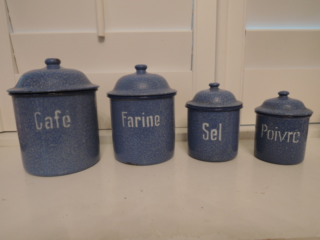 Vintage Set of 4 French Blue Swirl Enamelware Canisters 1920's Enamel Graniteware
