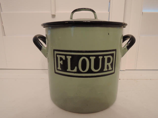 Vintage English Green Enamelware Flour Bin Box Enamel 1920's