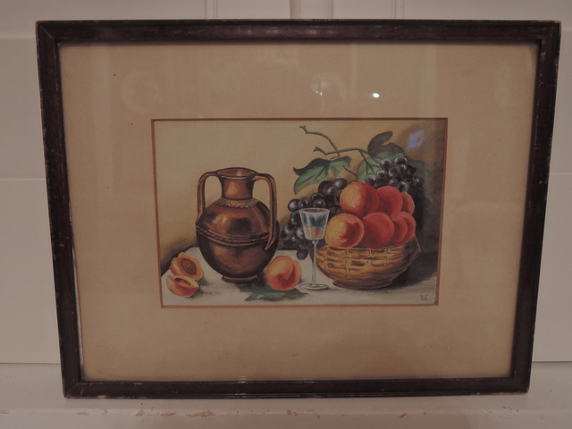 Lovely 19th C. British Still Life Watercolor Painting Framed Signed Peaches Grapes