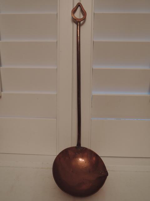 Antique Large English Copper Ladle w/Pour Spout Primitive Dipper